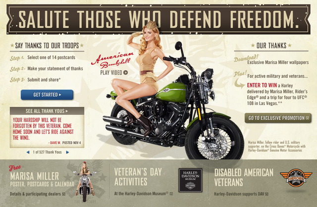 Marisa Miller pozira za Harley Davidsonov Military Appreciation Month